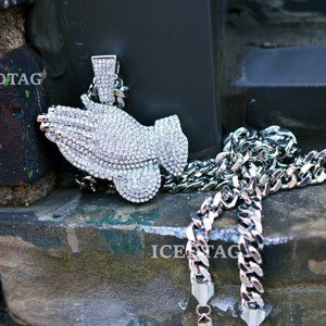 Other - Iced Out XL Size Praying Hand Pendant, Cuban Chain